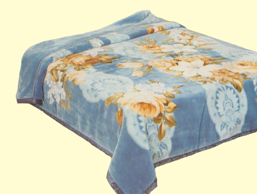 Koyo Two-Ply Navy Floral Mink Blanket