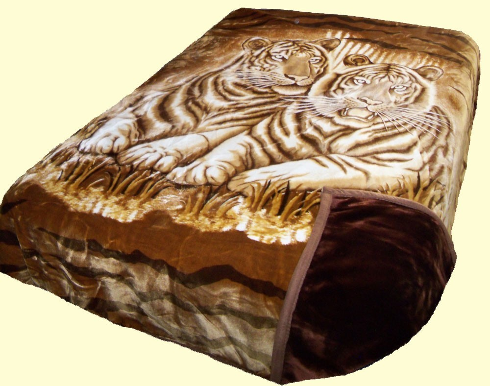 Solaron King Two-Ply White Tigers Mink Blanket