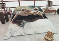 Siberia King Two-Ply Grizzly Bear Mink Blanket