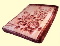 Solaron Two-Ply King Burgundy Floral Mink Blanket