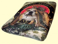 Queen Bull Dog Camo Mink Blanket