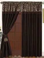 Chelsie 4PC Curtain Set Brown