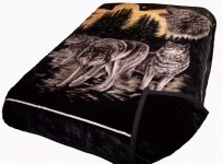 Solaron Two-Ply King Wolves Mink Blanket