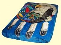 Luxury Queen Eagle Shield Mink Blanket
