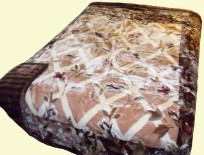 Poptex Two-Ply Brown-Green Floral Mink Blanket