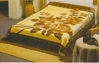 Queen Solaron Golden Floral Mink Blanket