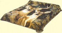 Queen Buck and Doe Green Mink Blanket