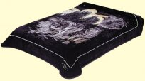 Queen Solaron Black Wolves Mink Blanket