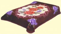 Solaron Twin/Full Burgundy Roses Mink Blanket