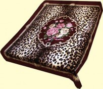 Original Korean Solaron Two-Ply Queen Leopard, Floral Mink Blanket