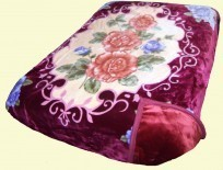 Solaron Two-Ply King Roses Mink Blanket
