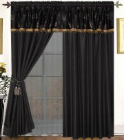 Whitman 4PC Curtain Set Black