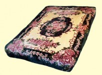 Original Korean Solaron Queen Two-Ply Floral Botique Mink Blanket