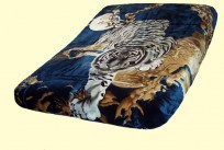 Original Korean Solaron Queen Two-Ply Tiger Navy Mink Blanket