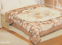 Koyo Queen Two-Ply Brown Floral Mink Blanket