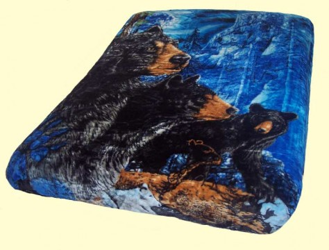 Luxury Queen Black Bears Mink Blanket