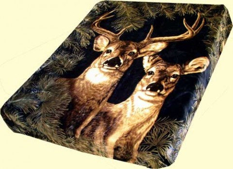 Solaron Queen Navy Deer Mink Blanket