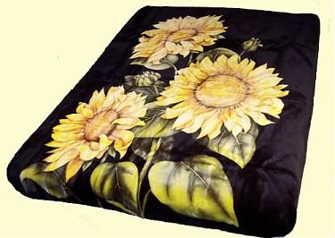 Queen Solaron Sunflowers Black Mink Blanket