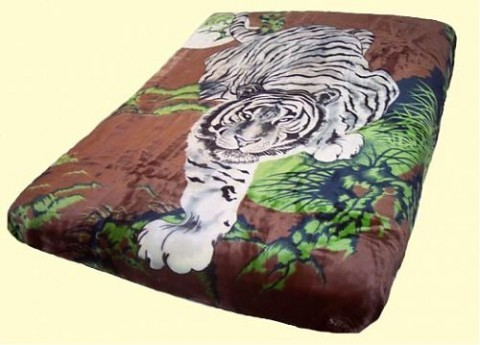Original Korean Solaron Queen Two-Ply Tiger Brown Mink Blanket