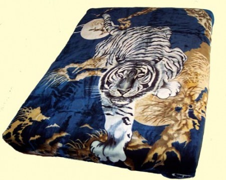 Imported Blankets Solaron Queen Mink Blankets Solaron Queen Crouching Tiger Navy Mink Blanket Imported Blankets