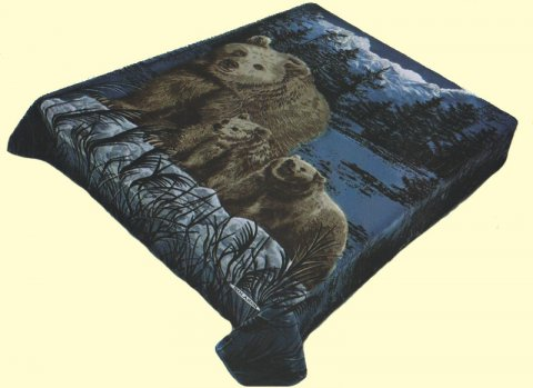 King Solaron Grizzly Bear Hunter Green Mink Blanket